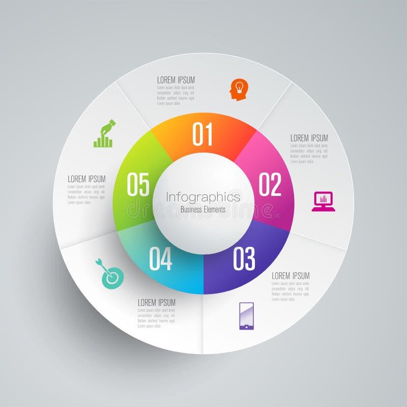Symboler för för Infographics designvektor och affär med 5 alternativ vektor illustrationer