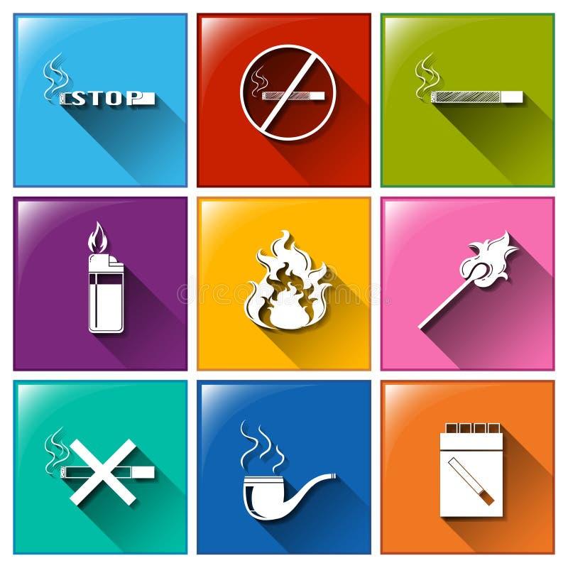 Symboler för inget - röka vektor illustrationer