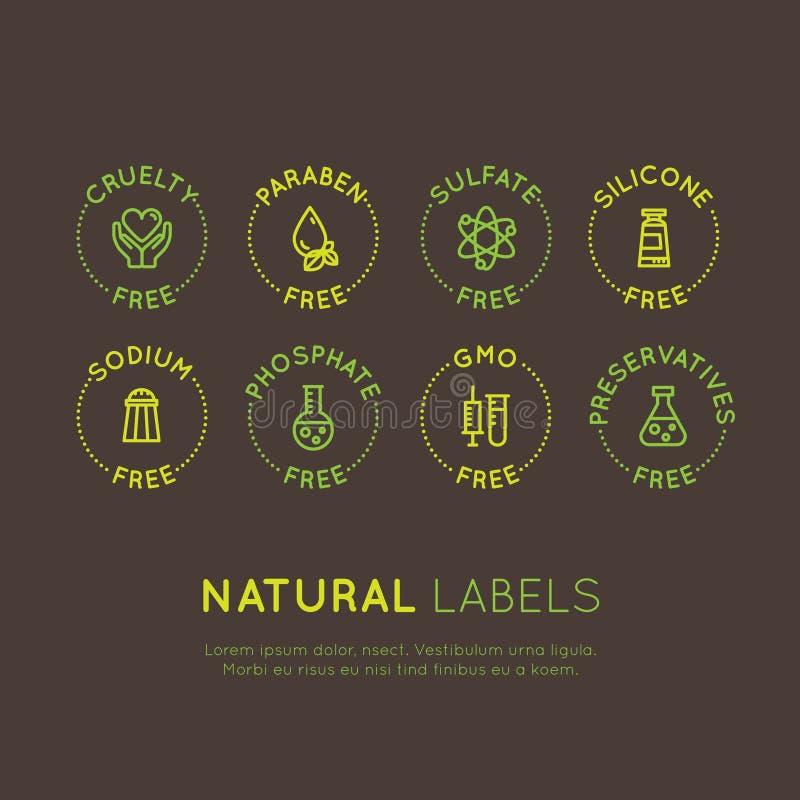 Symboler för ingrediensvarningsetikett Allergen gluten, laktos, sojaböna, havre, dagbok, mjölkar, sockrar, trans.-fett Vegetarisk vektor illustrationer