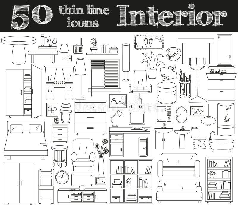 50 symboler för inre Tunn linje uppsättning stock illustrationer