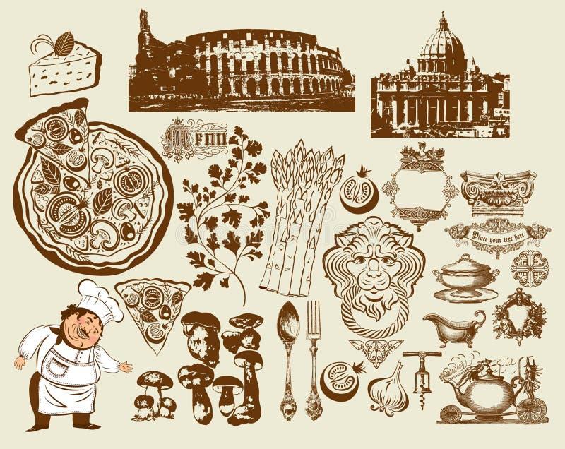 symboler för italienare r för colosseumteckningshand set royaltyfri illustrationer