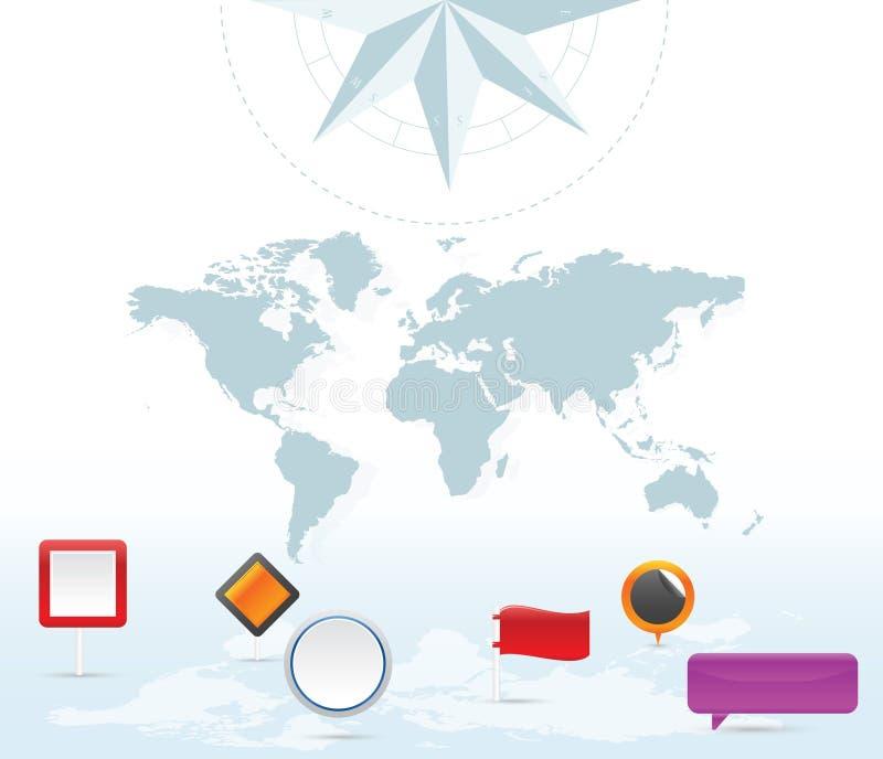 Symboler för jordöversiktsstift royaltyfri illustrationer