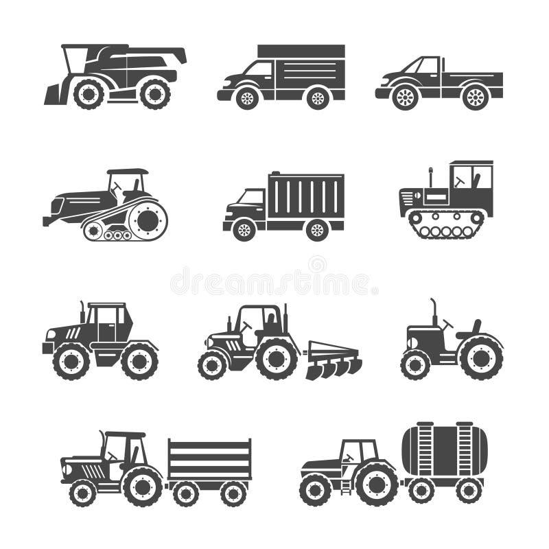 Symboler för jordbruks- maskineri stock illustrationer