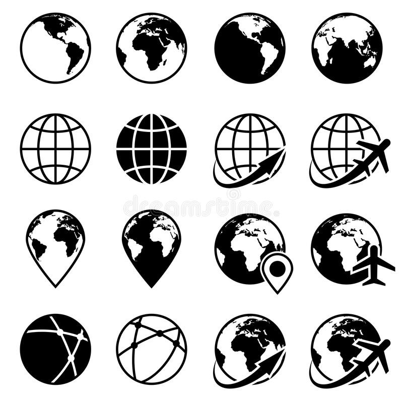 Symboler för jordklot för vektorsvartjord vektor illustrationer