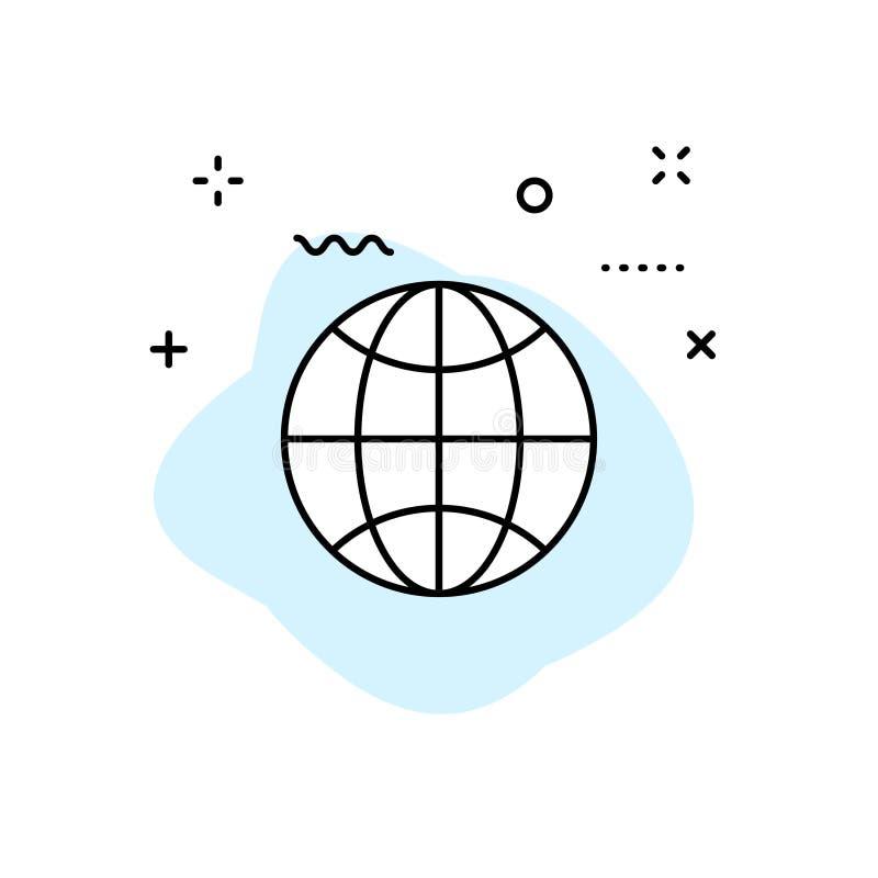 Symboler för jordklot- och jordplanetrengöringsduk i linjen stil Navigations- utrustning, planetjord, flygplan, översikt också ve vektor illustrationer