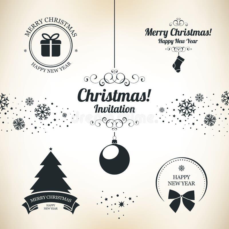 Symboler för jul och för nytt år royaltyfri illustrationer