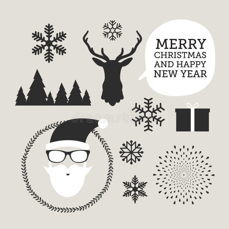 Symboler för jul och för nytt år för designer vykort, inbjudan, affisch och andra stock illustrationer