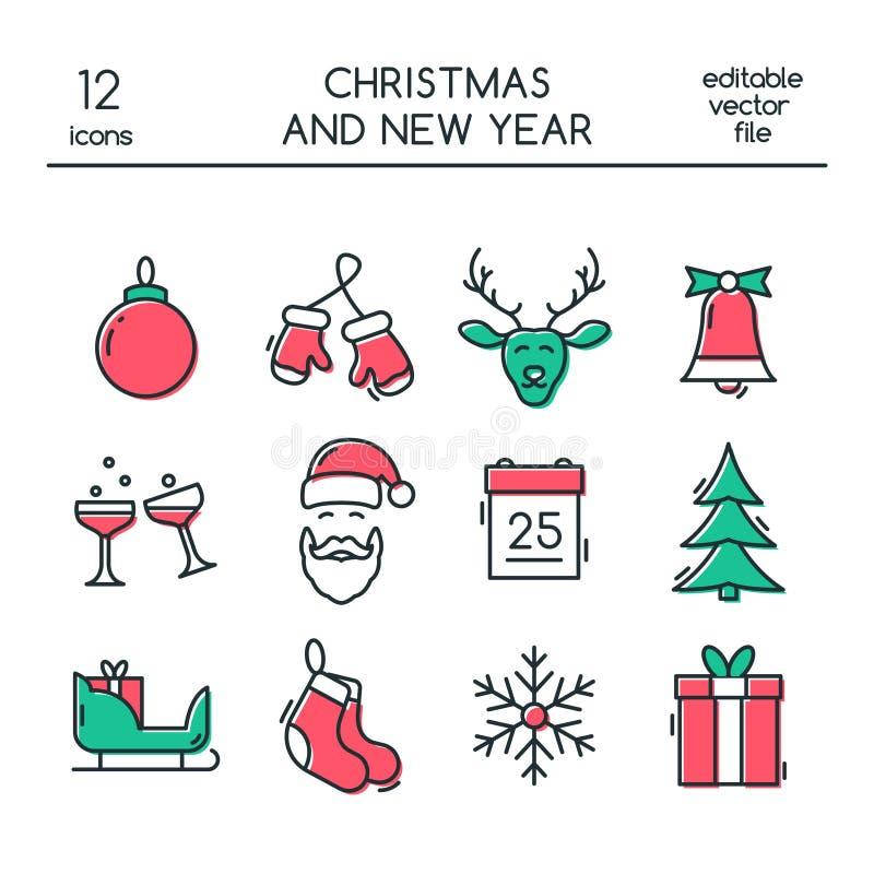 Symboler för jul som och för nytt år göras i den moderna linjen stil royaltyfri illustrationer