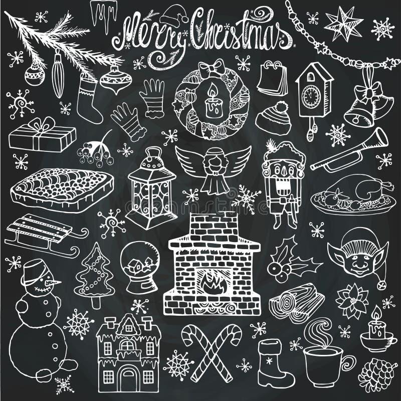 Symboler för julsäsongklotter, symboler krita vektor illustrationer