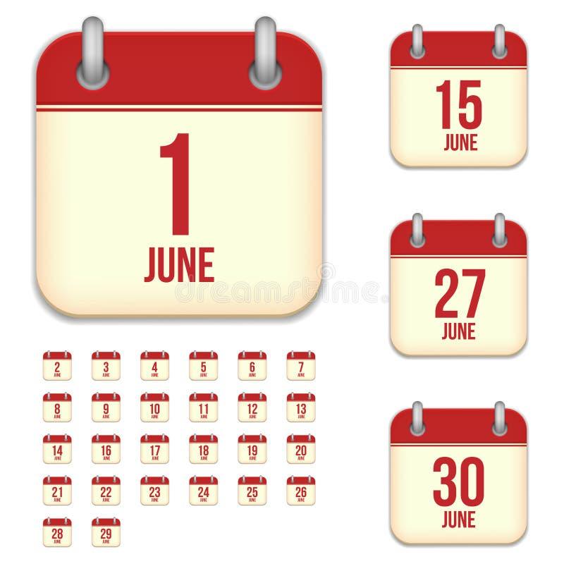 Symboler för Juni vektorkalender vektor illustrationer