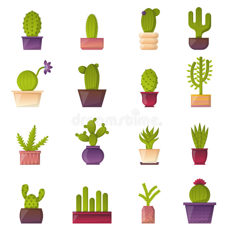 Symboler för kaktus för växt för vektortecknad filmhus vektor illustrationer