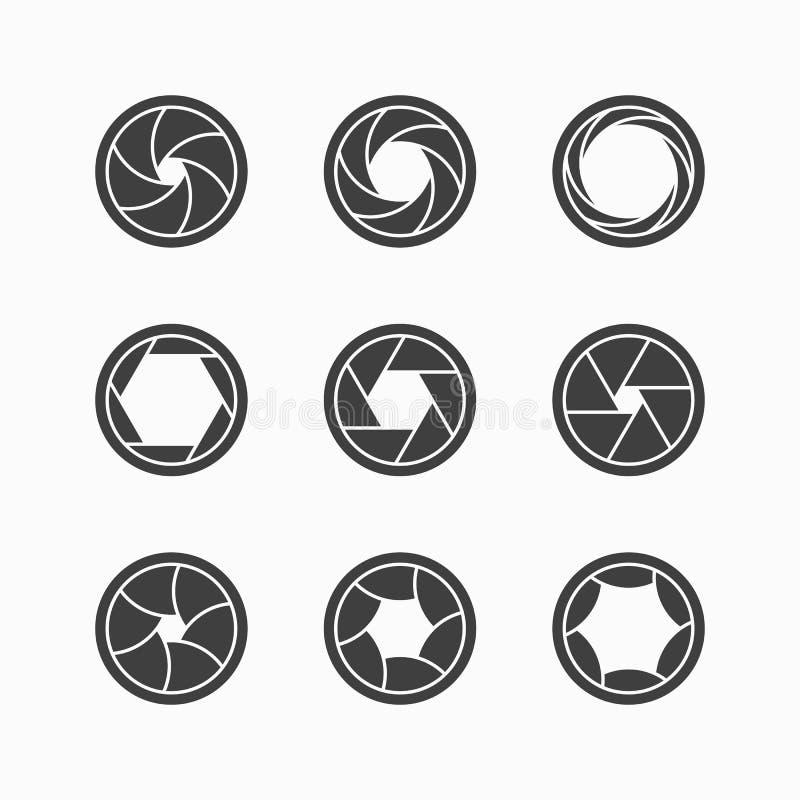 Symboler för kameraslutare vektor illustrationer