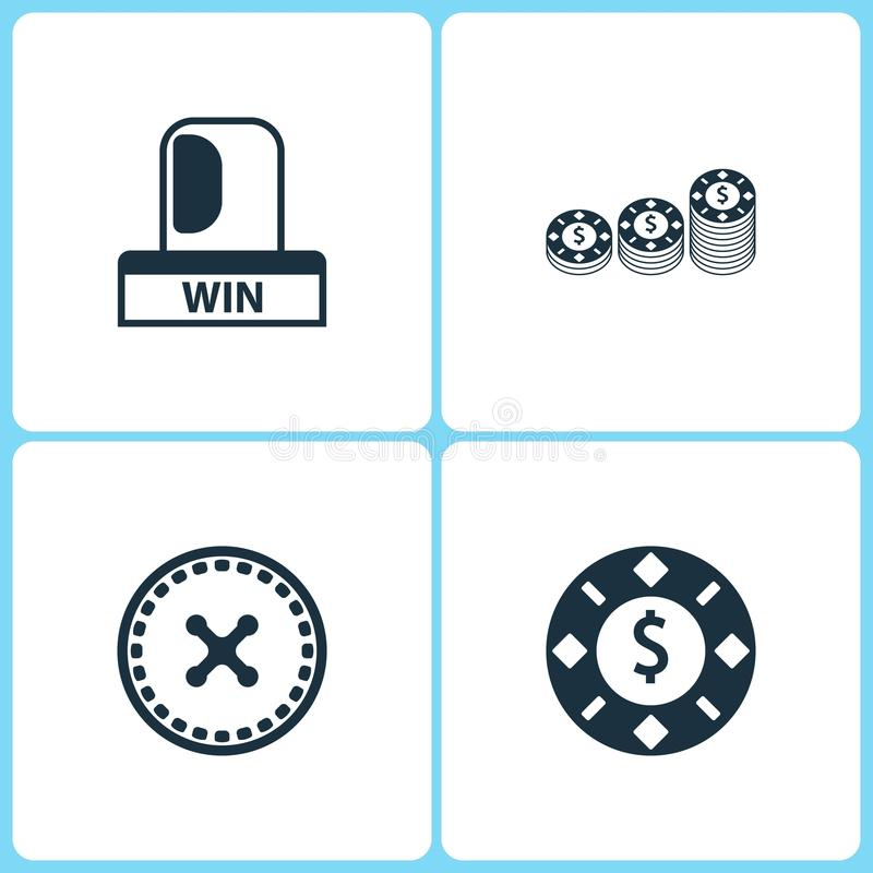 Symboler för kasino för vektorillustrationuppsättning Beståndsdelar av blinkern, rouletten och att spela för seger chipsymbolen royaltyfri illustrationer