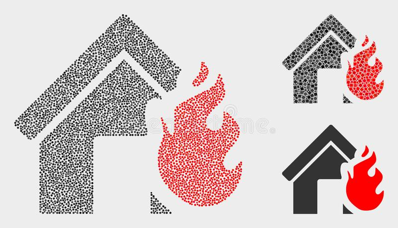 Symboler för katastrof för brand för Pixelated vektorhus royaltyfri illustrationer