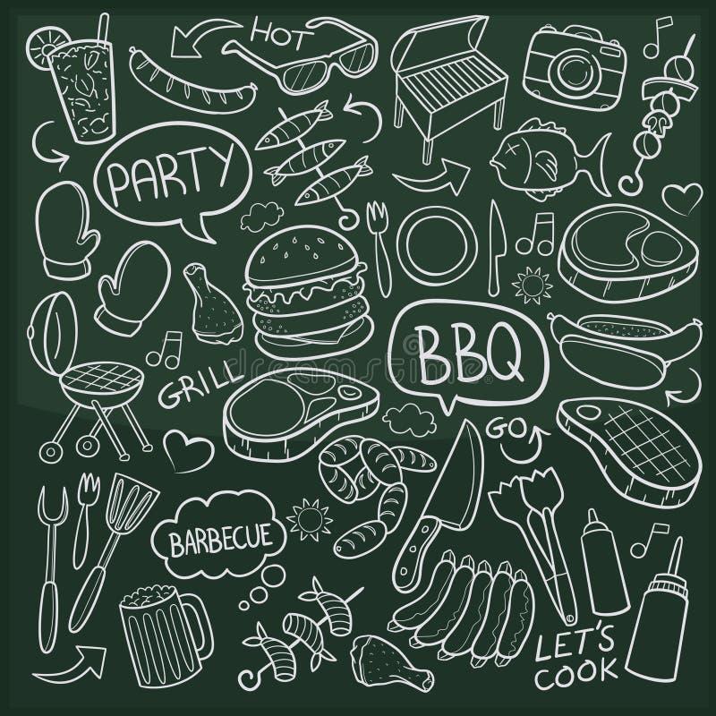 Symboler för klotter för BBQ-parti skissar traditionella handen - gjord designvektor vektor illustrationer
