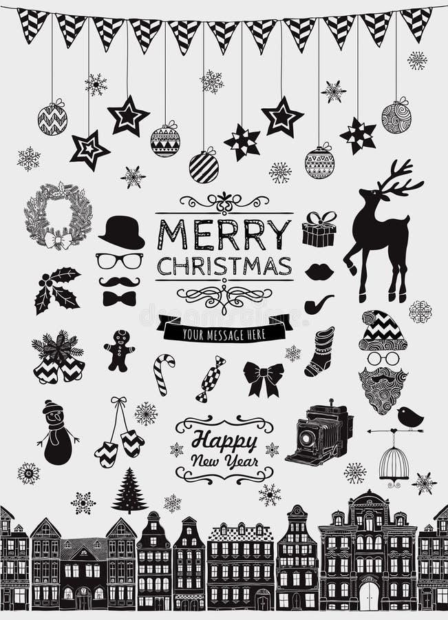 Symboler för klotter för jul för svart hand för vektor skissade vektor illustrationer