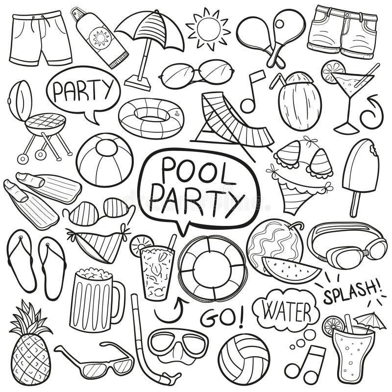 Symboler för klotter för sommar för vänner för pölparti skissar traditionella handen - gjord designvektor stock illustrationer