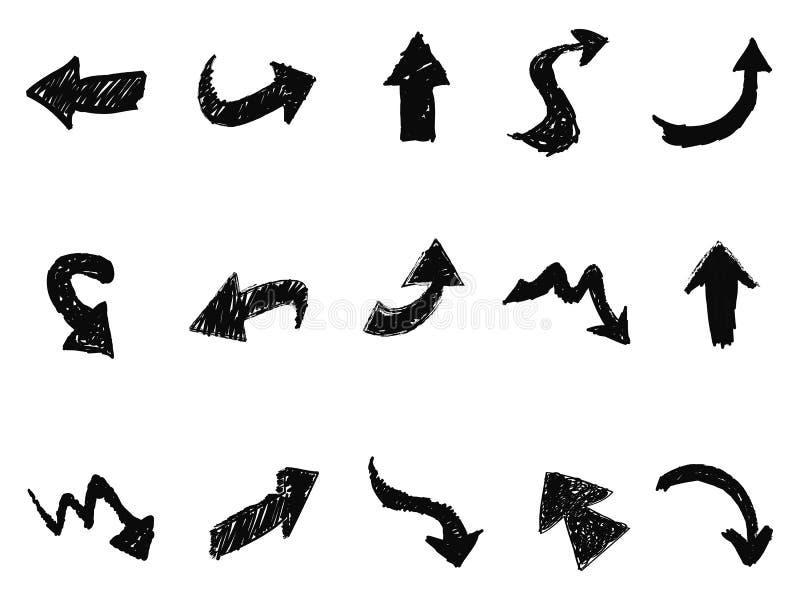 Symboler för klotterpiltecken royaltyfri illustrationer