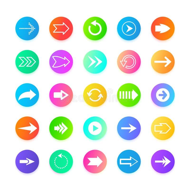 Symboler för knapp för färgpilrengöringsduk Tillbaka ut, från, till, och nästa navigeringtecken Markörpilar uppsättning, vektoril vektor illustrationer