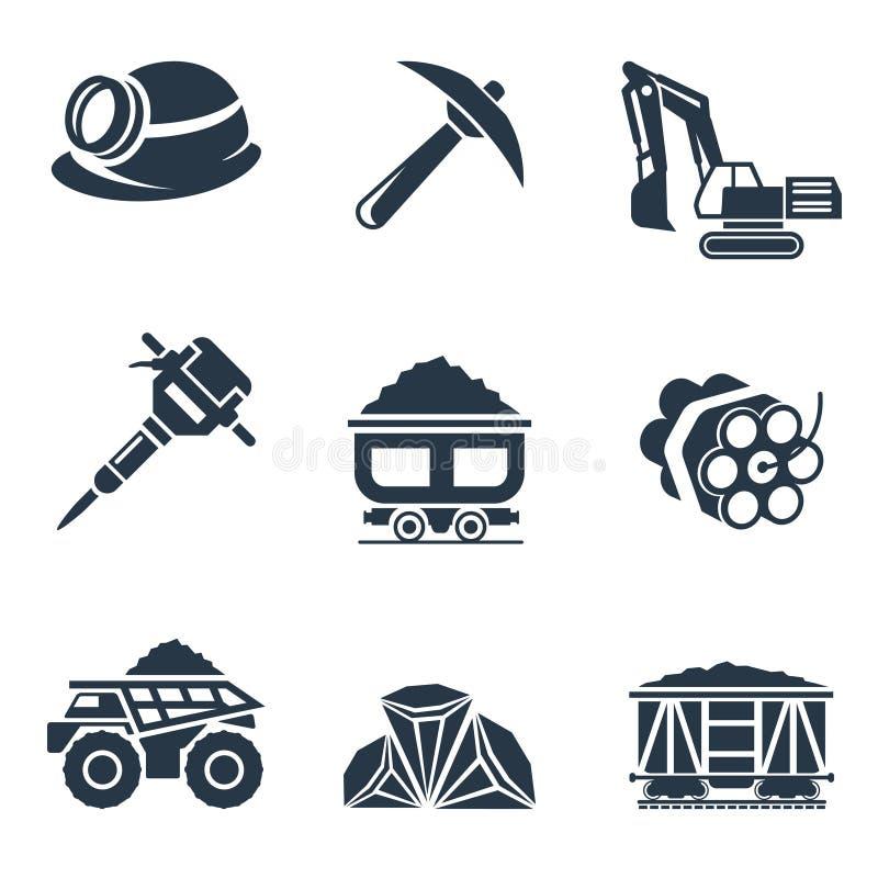 Symboler för kolbransch royaltyfri illustrationer