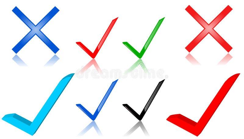 symboler för kontrollfläck stock illustrationer