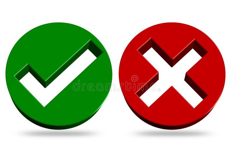 Symboler för kontrollfläck och kors vektor illustrationer