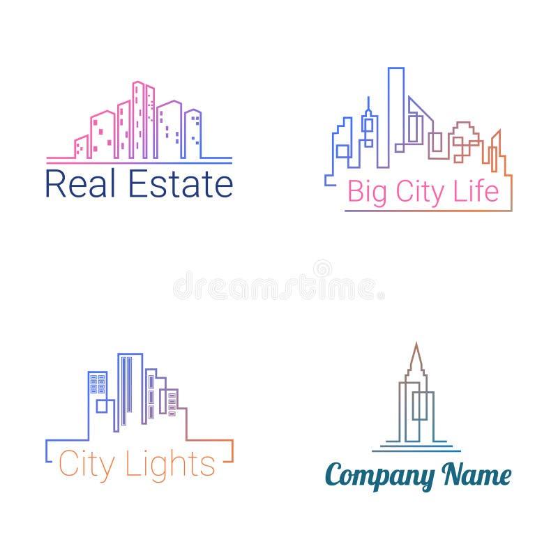 Symboler för kontur för stadsbyggnadslogo vektor vektor illustrationer