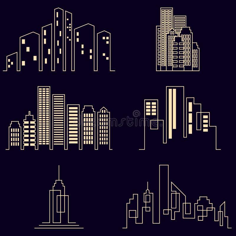 Symboler för kontur för vektorstadsbyggnader vektor illustrationer