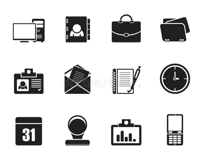 Symboler för konturrengöringsdukapplikationer, affärs- och kontors, universella symboler royaltyfri illustrationer