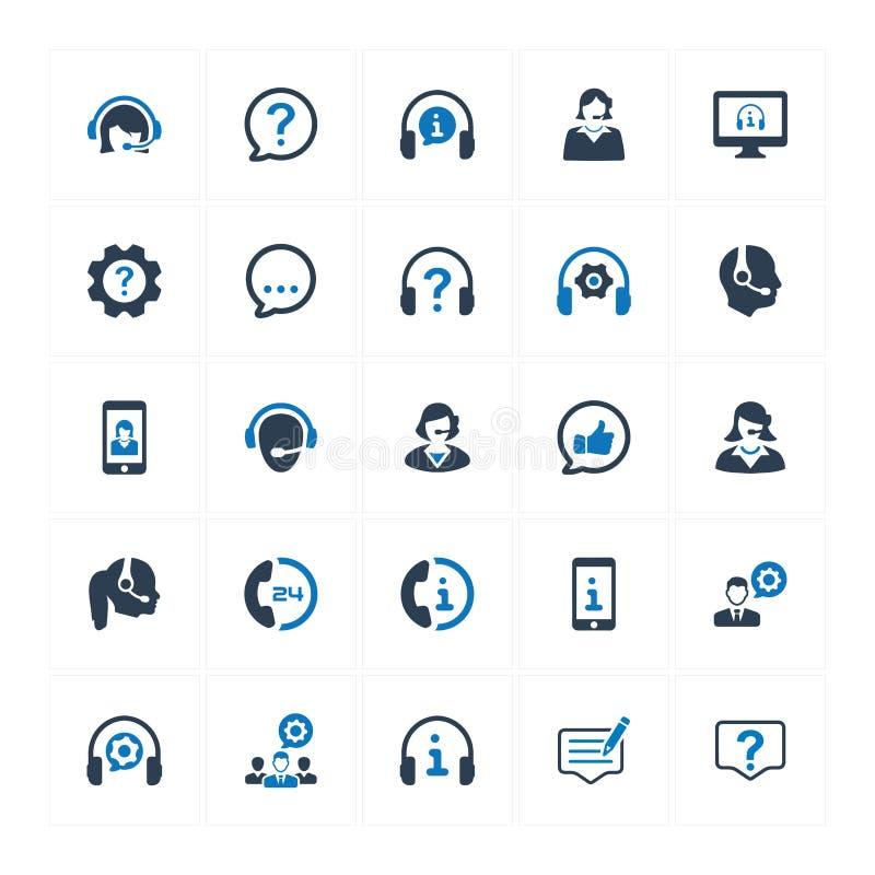 Symboler för kundservice - blå version vektor illustrationer