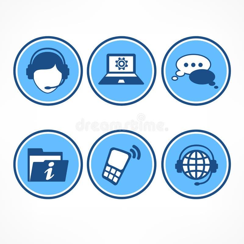 Symboler för kundservice i blått royaltyfri illustrationer