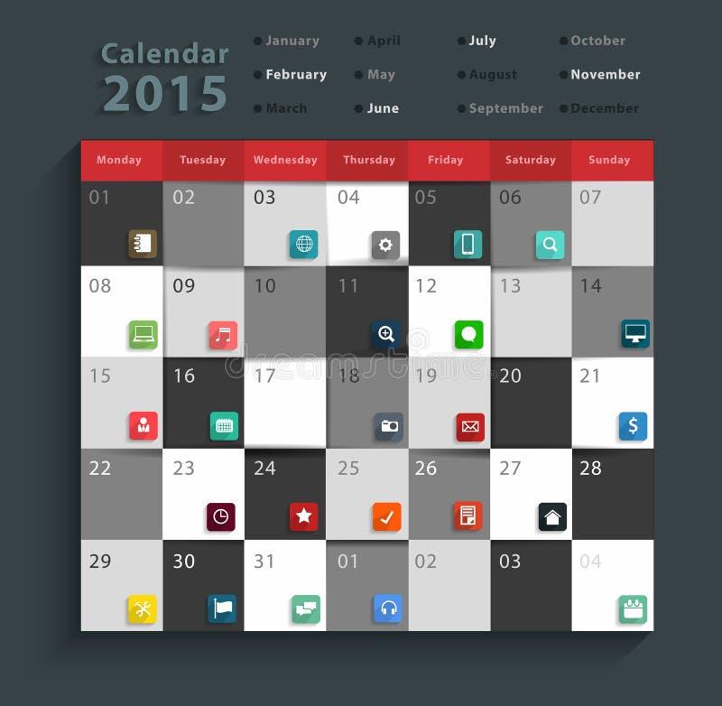 Symboler in för lägenhet för affär för vektorkalender 2015 ställde moderna stock illustrationer
