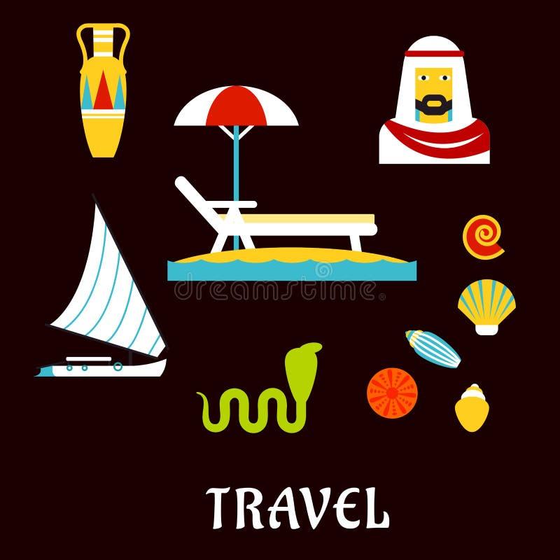 Symboler för lägenhet för Egypten lopp- och strandsemester stock illustrationer