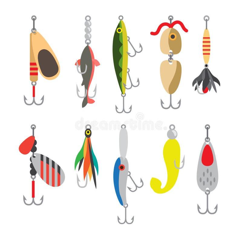 Symboler för lägenhet för fiskebete vektor illustrationer