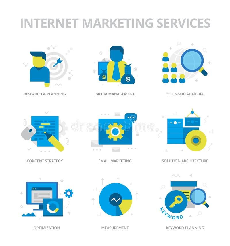 Symboler för lägenhet för internetmarknadsföringsservice vektor illustrationer