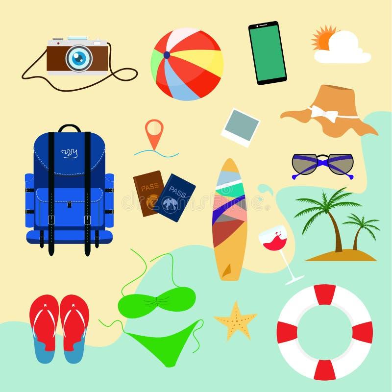 Symboler för lägenhet för sommarferie med bakgrundsstranden för designeps för 10 bakgrund vektor för tech stock illustrationer