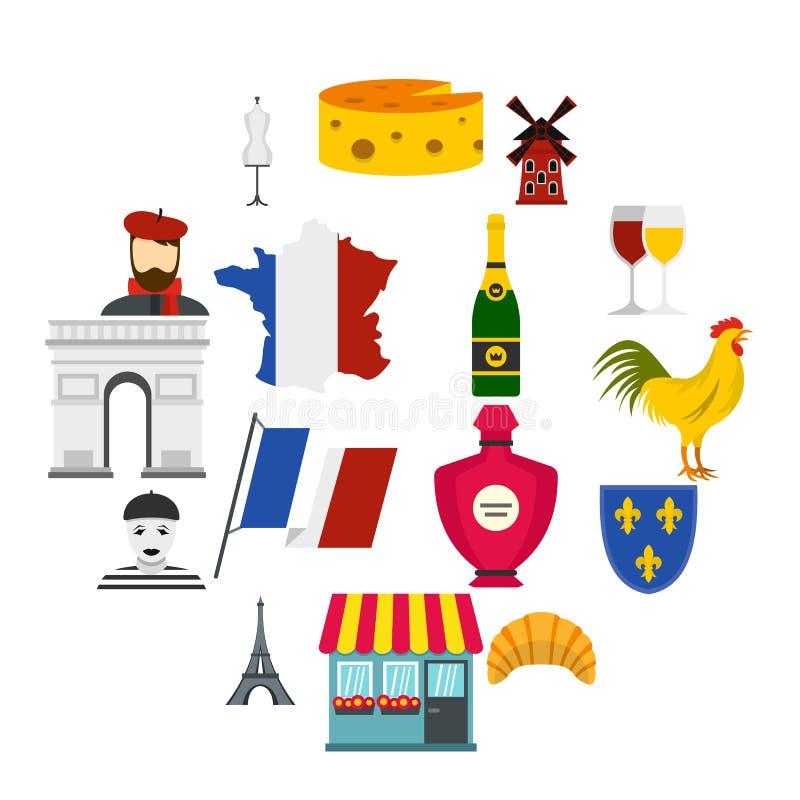 Symboler för lägenhet för Frankrike loppuppsättning royaltyfri illustrationer