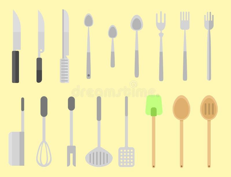 Symboler för lägenhet för kökdiskvektor isolerade illustrationen för möblemang för disk för hushållutrustning den dagliga stock illustrationer