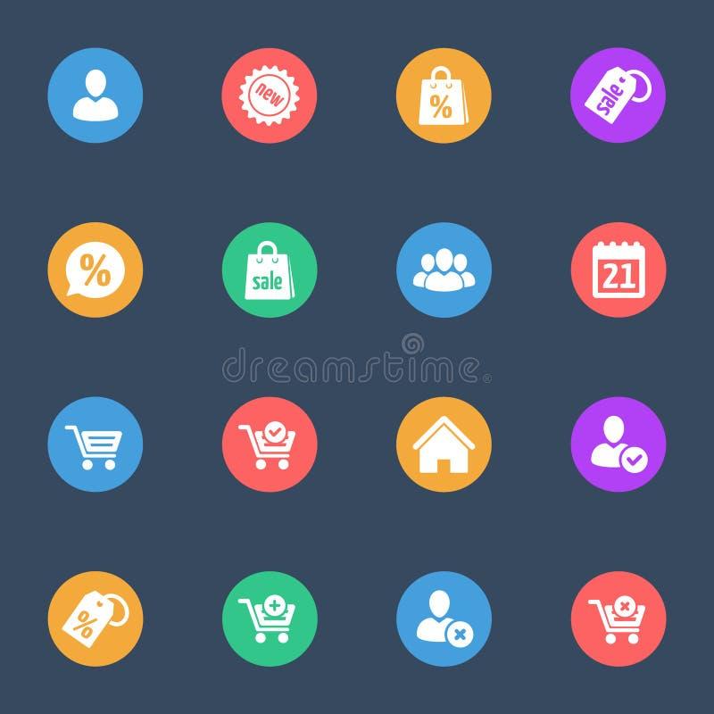 Symboler för lägenhet för rengöringsdukshoppingvektor på färgsubstrateuppsättningen av 16 royaltyfri illustrationer