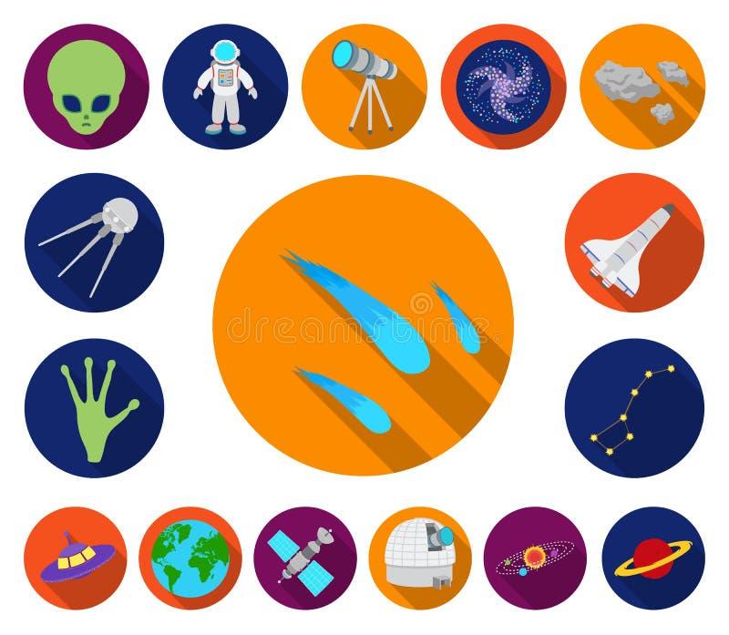 Symboler för lägenhet för utrymmeteknologi i uppsättningsamlingen för design Rymdskepp- och utrustningvektorsymbolet lagerför ren royaltyfri illustrationer