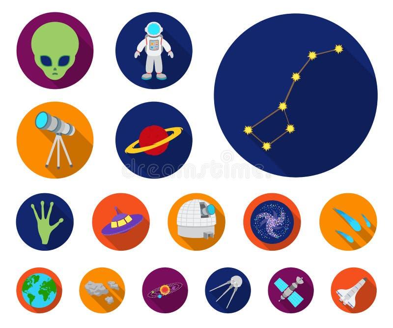 Symboler för lägenhet för utrymmeteknologi i uppsättningsamlingen för design Rymdskepp- och utrustningvektorsymbolet lagerför ren vektor illustrationer