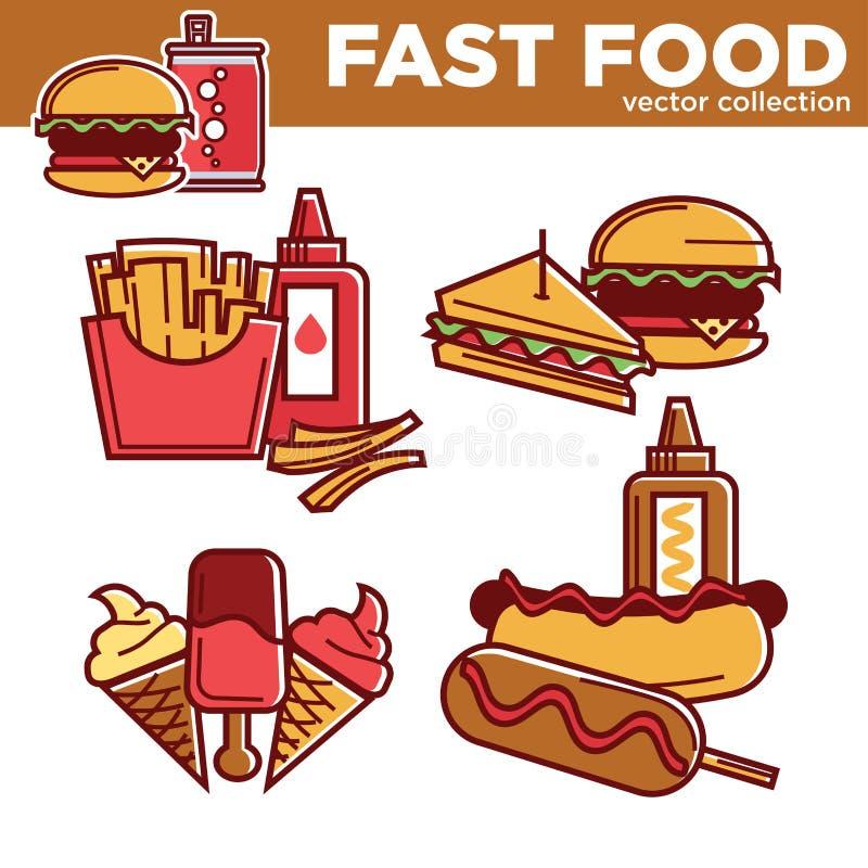 Symboler för lägenhet för vektor för mellanmål och för mål för snabbmathamburgaresmörgåsar ställde in vektor illustrationer