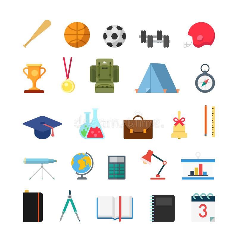 Symboler för läger för utbildningslivsstilsportar infographic vektor illustrationer