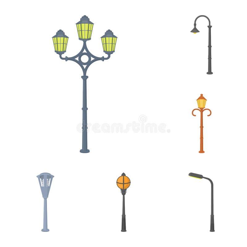 Symboler för lampstolpetecknad film i uppsättningsamlingen för design Lyktan och belysningvektorsymbolet lagerför rengöringsdukil royaltyfri illustrationer