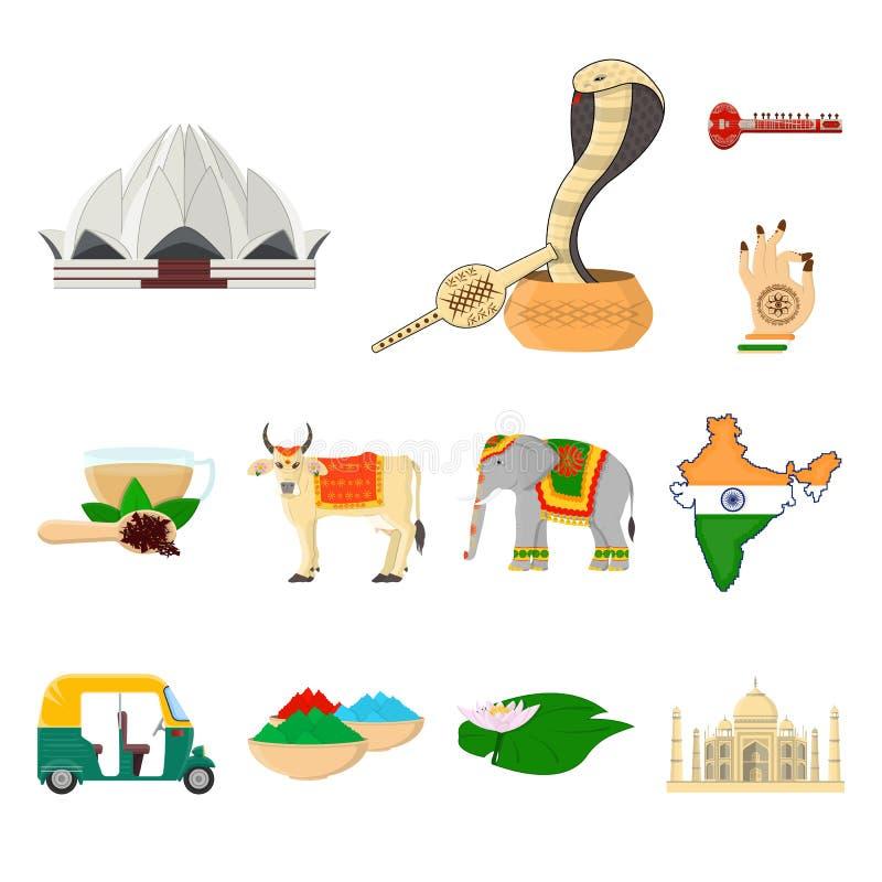 Symboler för landsIndien tecknad film i uppsättningsamlingen för design Det Indien och gränsmärkevektorsymbolet lagerför rengörin royaltyfri illustrationer