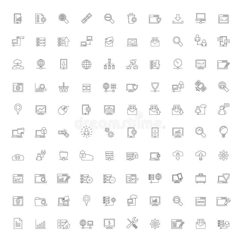 Symboler för linje internet, website- och användargränssnitt royaltyfri illustrationer