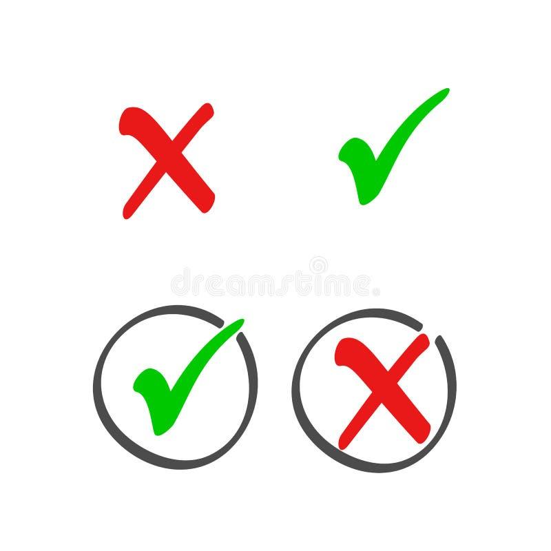 Symboler för lista för kontrollask ställer in, färgar röda och gröna fläckar som isoleras på vit bakgrund också vektor för coreld stock illustrationer