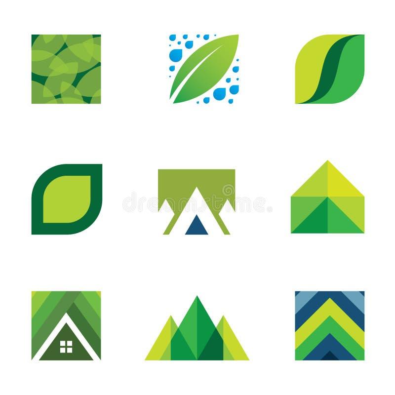 Symboler för liv för grön för logouppsättning för liv idérik konstruktion bättre stock illustrationer