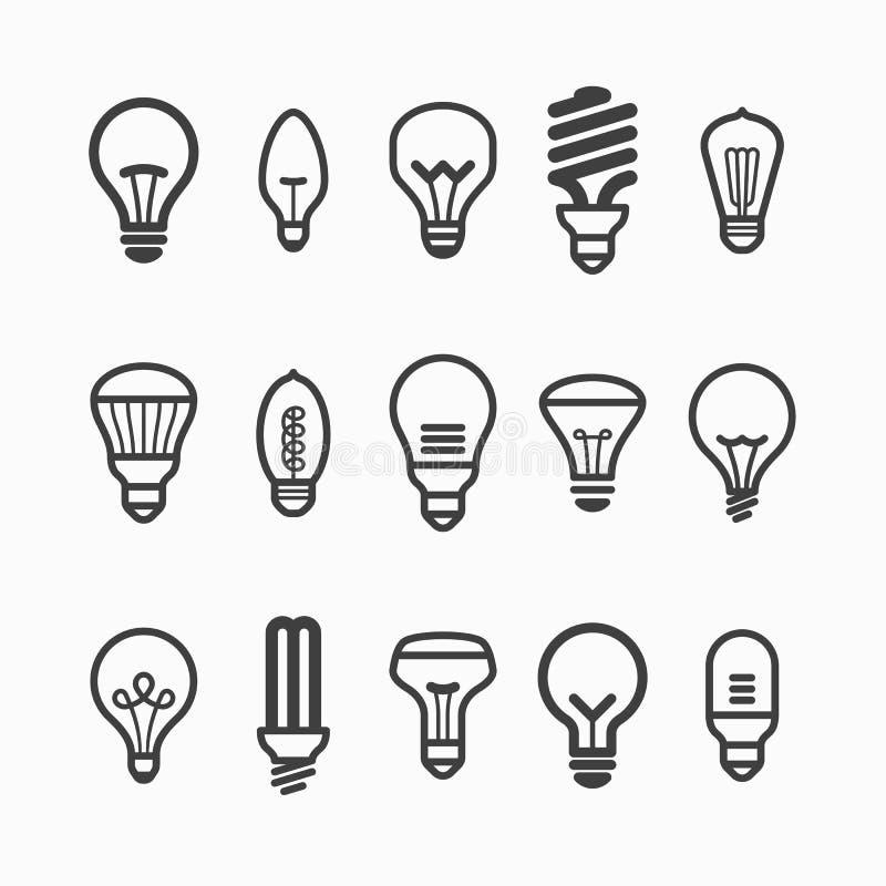 Symboler för ljus kula stock illustrationer