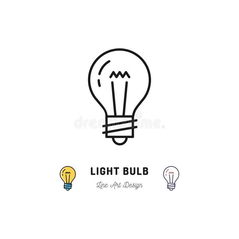 Symboler för ljus kula, idésymbol Tunn linje konstsymboler för Lightbulb vektor illustrationer